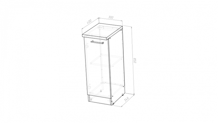 Стол рабочий с одной дверцей 300 мм глубиной 400 мм Герда